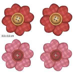 Apliques em MDF 4 florzinhas patchwork APM3-017 - Litoarte