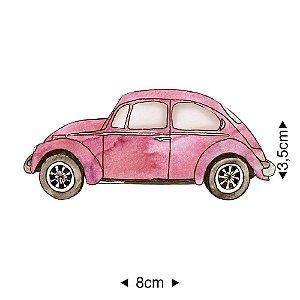 Aplique em MDF fusca rosa, APM8-1276 - Litoarte
