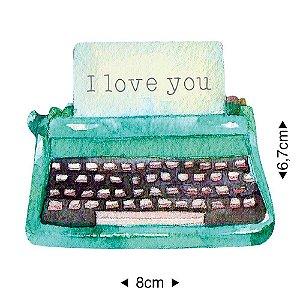 Aplique em MDF máquina de escrever verde, APM8-1280 - Litoarte