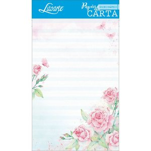 Kit papel de carta PEC 003 - 5 folhas - Rosas III - Litoarte