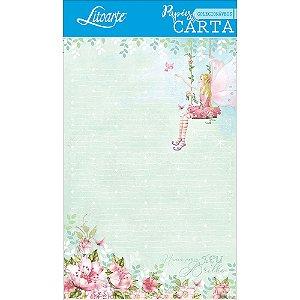 Kit papel de carta PEC 004 - 5 folhas - Fadas - Litoarte