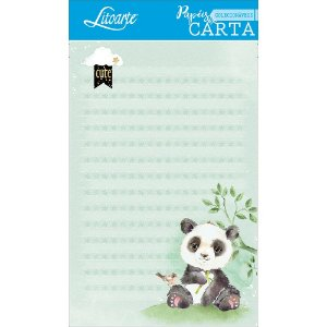 Kit papel de carta PEC 008 - 5 folhas - Panda Verde - Litoarte