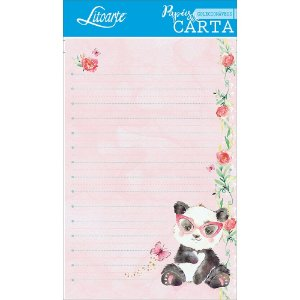 Kit papel de carta PEC 009 - 5 folhas - Panda Rosa - Litoarte