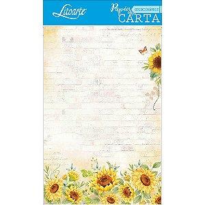Kit papel de carta PEC 011 - 5 folhas - Girassol  II - Litoarte