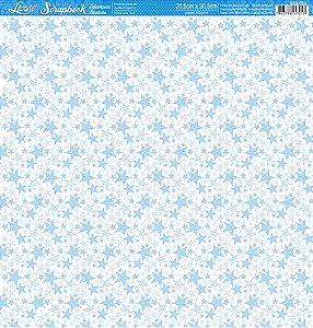 Papel Estrelas azuis face única SBB-025 - Litoarte