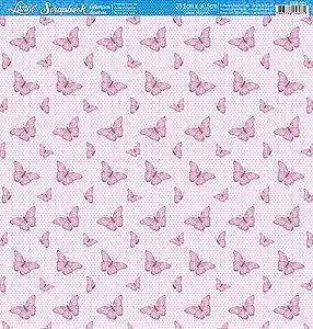 Papel SBB-001 borboletas rosa - face única - Litoarte