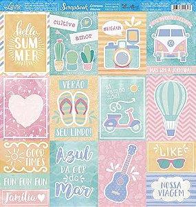 Papel SBB-199 Verão cards - face única - Litoarte