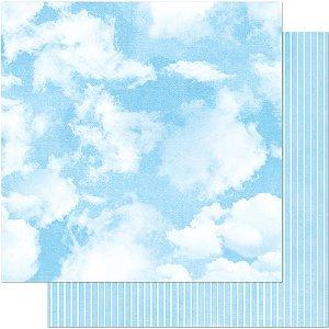 Papel SD-0011 Nuvens e Listras dupla-face  - Litoarte