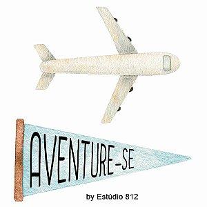 Apliques em MDF Avião e Flâmula Aventure-se APM4-426 - Litoarte