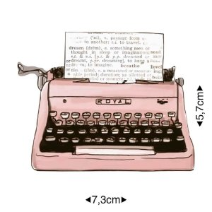 Aplique em MDF Máquina de escrever rosa APM8-1252 - Litoarte