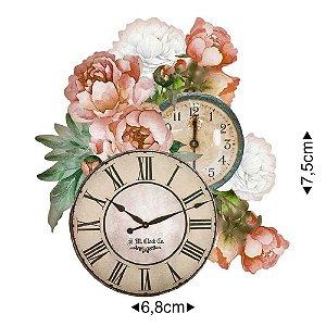 Aplique em MDF Relógio e flores APM8-1249 - Litoarte