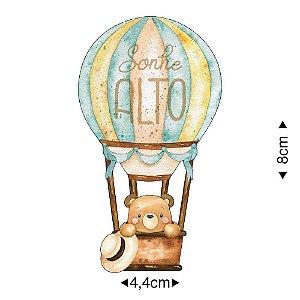 Aplique em MDF Balão com Urso APM8-1297 - Litoarte