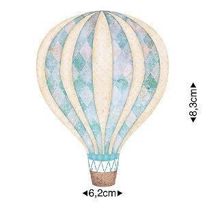 Aplique em MDF Balão azul claro APM8-633 - Litoarte