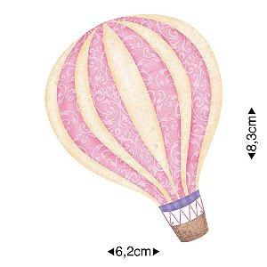 Aplique em MDF Balão rosa claro APM8-632 - Litoarte
