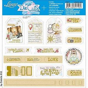 Cartela de die cuts com foil dourado Viagem LDCH-001 - Litoarte