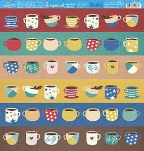 Papel SBB-163 Xícaras coloridas café - face única- Litoarte