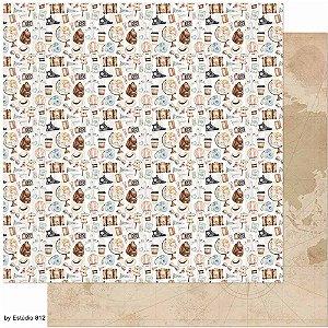 Papel SD-1138 Estampa Viagem - dupla-face - Litoarte