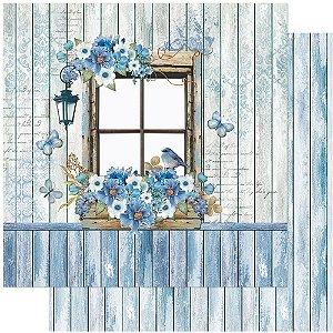 Papel SD-1066 Janela Azul rústico dupla-face  - Litoarte