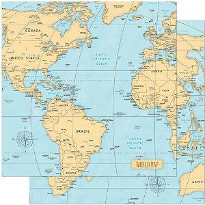 Papel SD-0839 Mapa mundi  - Viagem - dupla-face  - Litoarte