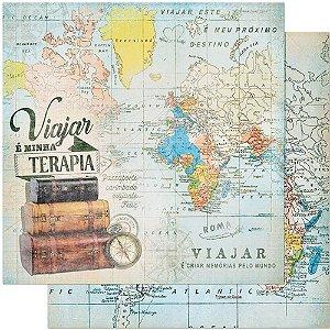 Papel SD-0840 Mapa mundi Malas - Viagem - dupla-face  - Litoarte
