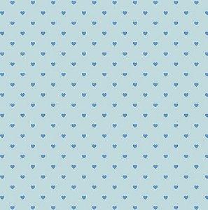 Papel SH30-051 azul com corações com foil - Litoarte
