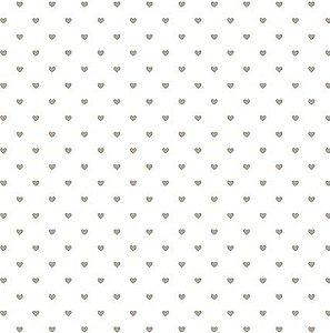 Papel SH30-049 branco com corações com foil dourado- Litoarte