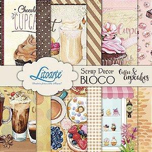 Bloco de papéis 15x15 cm - Coffee & Cupcakes - SBX-021 - Litoarte
