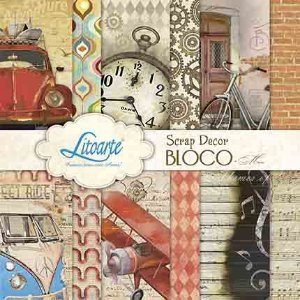 Bloco de papéis 15x15 cm - Man - Vintage -  SBXV-006 - Litoarte