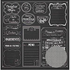Papel para scrapbook Na Cozinha Lousa - Oficina do Papel