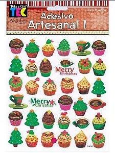 Adesivo Artesanal I - Cupcake Natal - Toke e Crie