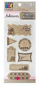 Adesivos Tags de madeira - Flores - Toke e Crie
