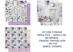 Kit com 3 papéis de scrapbook Vintage Lilás - Dupla-face- Litoarte