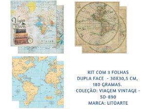 Kit com 3 papéis de scrapbook Viagem Vintage - Dupla-face- Litoarte