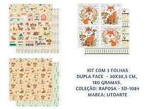 Kit com 3 papéis de scrapbook Raposas - Dupla-face- Litoarte