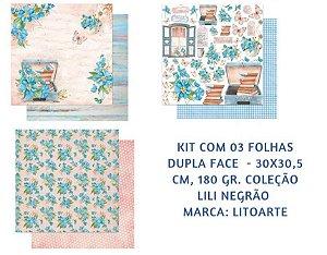 Kit com 3 papéis de scrapbook Flores Azuis - Lili Negrão - Dupla-face- Litoarte