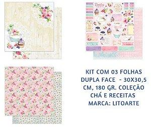 Kit com 3 papéis de scrapbook Chá e Receitas - Dupla-face- Litoarte