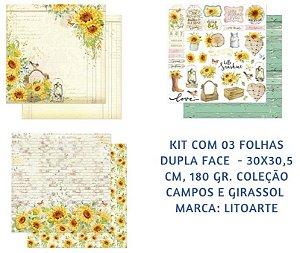 Kit com 3 papéis de scrapbook Girassol - Dupla-face- Litoarte