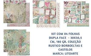Kit 4 papeis 30x30 Rústico Borboletas e Castelos dupla-face- Litoarte