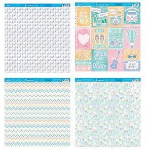 Kit com 4 papéis de scrapbook Verão Candy - Face única- Litoarte