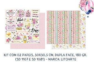 Kit com 2 papéis de scrapbook Element Shine SD-1107 e SD-1081- Dupla-face- Litoarte