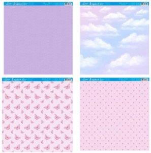 Kit com 4 papéis de scrapbook Borboletas e nuvens - Face única- Litoarte
