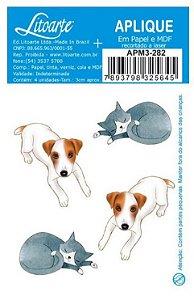 Aplique em MDF Cachorro e gato coleção Aconchego APM3-282 - Litoarte