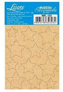 Cartela de MDF recortado Estrelas Cru - MRL-103 - Litoarte