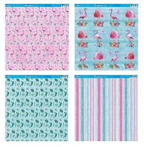 Kit com 4 papéis de scrapbook Flamingos - Face única- Litoarte