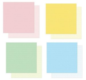 Kit com 4 papéis de scrapbook Candy - Dupla-face- Litoarte