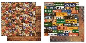 Kit com 2 papéis de scrapbook Tampas/Placas - Dupla-face- Litoarte