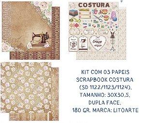 Kit com 3 papéis de scrapbook Costura - Dupla-face- Litoarte