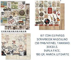Kit com 3 papéis de scrapbook Masculino - Dupla-face- Litoarte