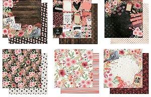 Kit com 6 papéis de scrapbook Love Story - Amor - Dupla-face- Litoarte