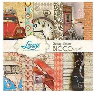 Bloco de papéis scrapbook 15x15 cm - Man Homem Vintage - SBXV-006 - Litoarte